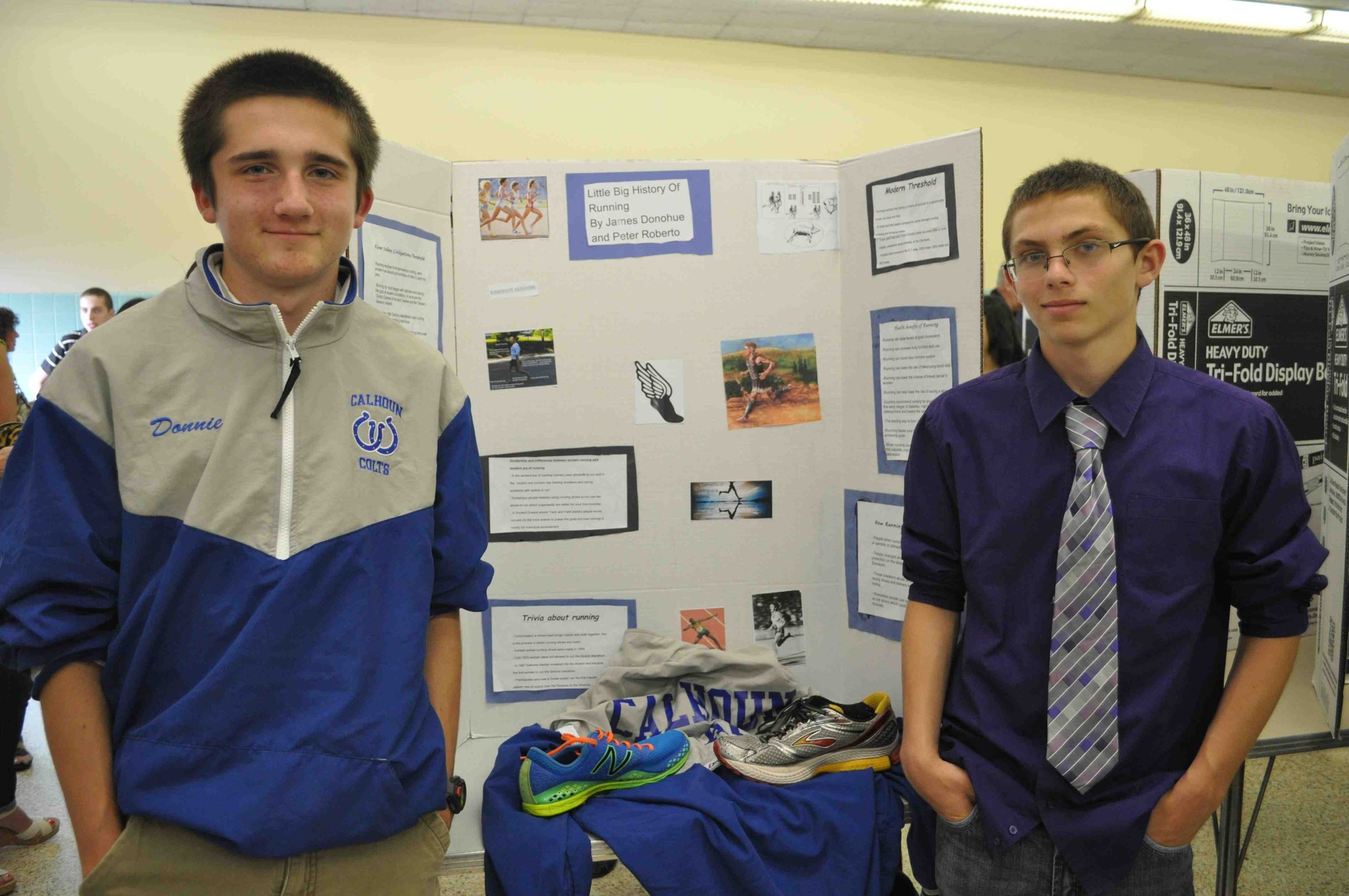 Calhoun ninth-graders James Donohue and Peter Roberto displayed their project at the Little Big History Fair