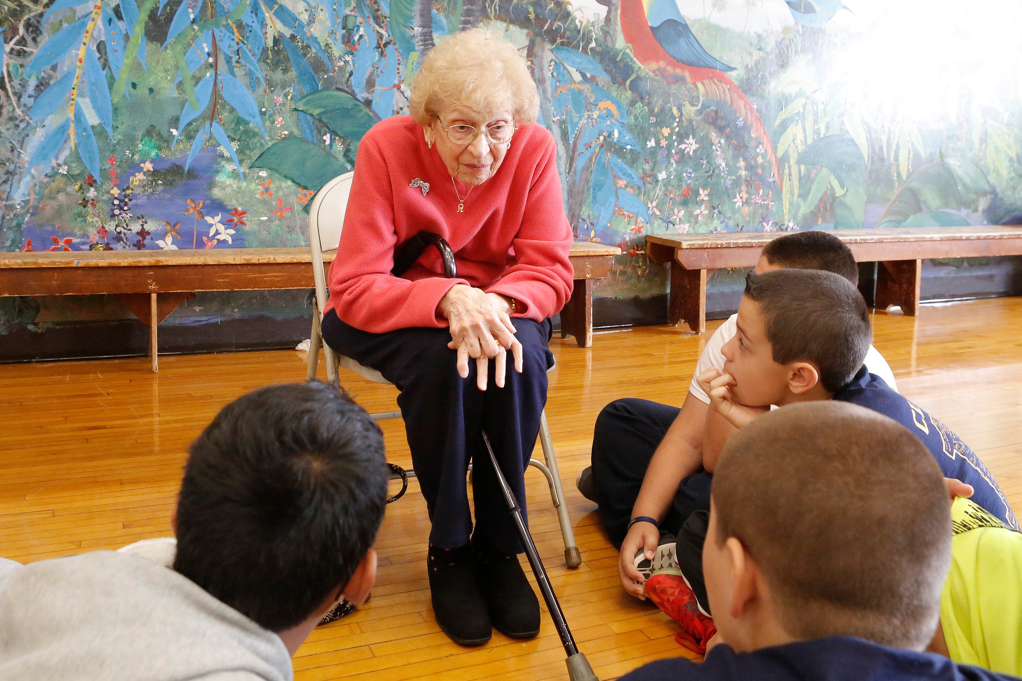 Adeline Cook, a former seventh-grade teacher who started her career in 1950, spoke with Newbridge Road students about how things have changed since she worked in the building.