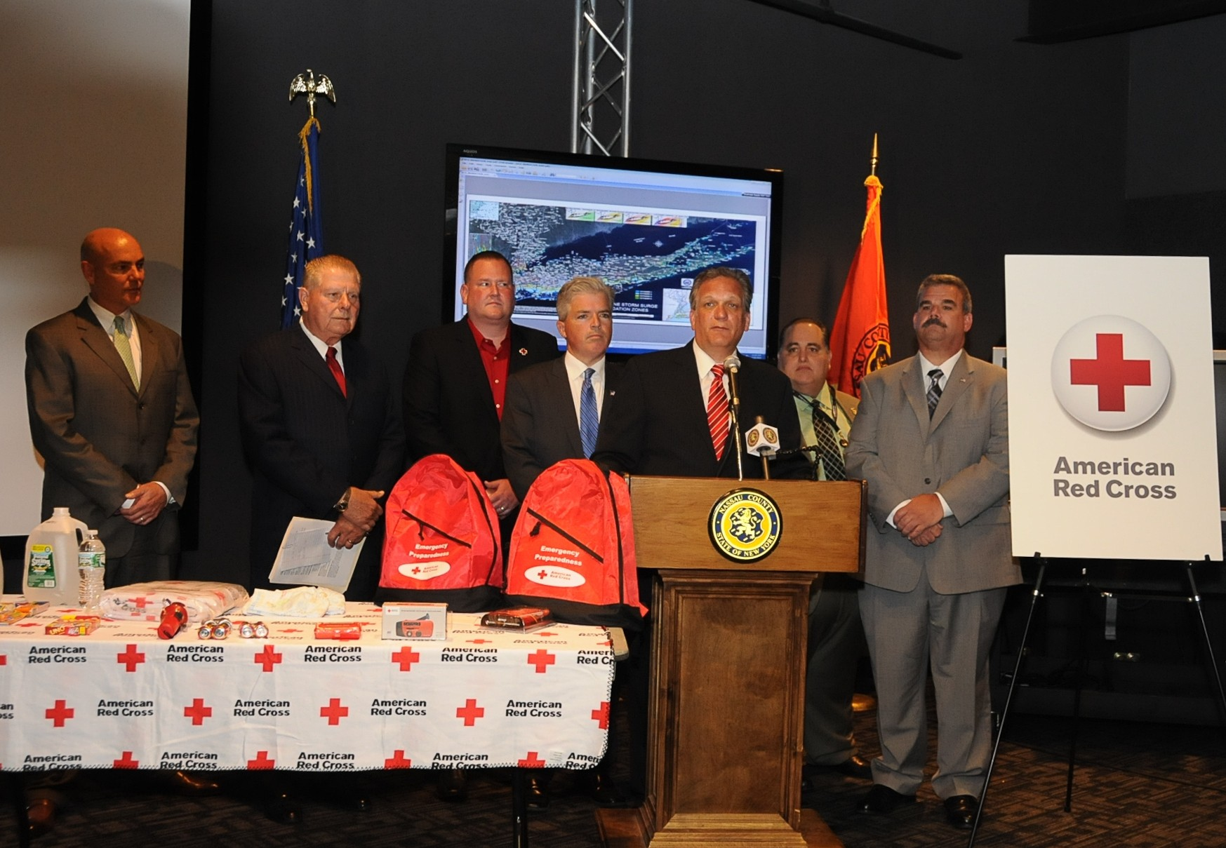 Nassau and Suffolk county officials gathered with leaders of the American Red Cross on Long Island last Friday in Bethpage to urge residents to prepare now for future severe storms. From left to right were Chris Kutner, co-chairman of the American Red Cross on Long Island�s Board of Directors; Joe Williams, commissioner of the Suffolk County Department of Fire, Rescue and Emergency Services; John Miller, chief executive officer of the American Red Cross on Long Island; Steve Bellone, Suffolk County executive; Ed Mangano, Nassau County executive; Craig Craft, commissioner of the Nassau County Office of Emergency Management; Scott Tusa, chief fire marshal of Nassau County.