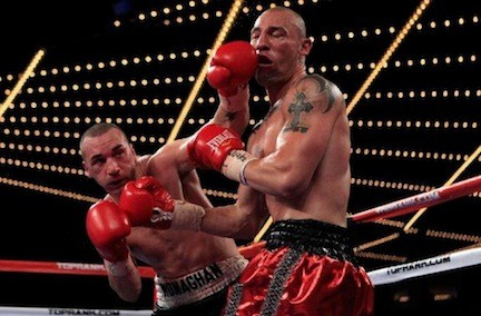 Seanie Monaghan, left, fighting Anthony Pietrantonio at Madison Square Garden in 2011, will fight at the Barclays Center on June 14.