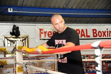 Monaghan, pictured at the Freeport PAL before his fight in Las Vegas last October, will take on Elvir Muriqi at Barclays.
