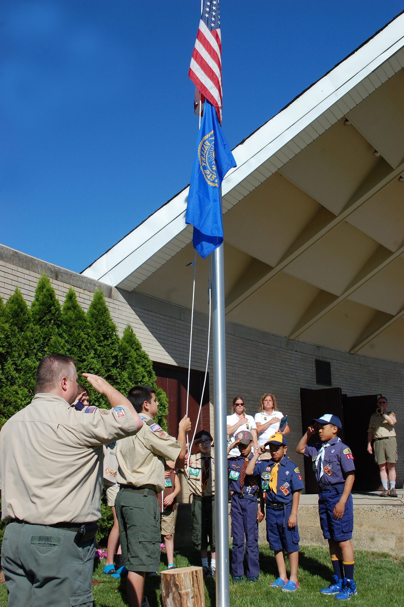 Scouts raised the flag last Saturday morning at the opening ceremony for the annual Camporee on the Village Green.