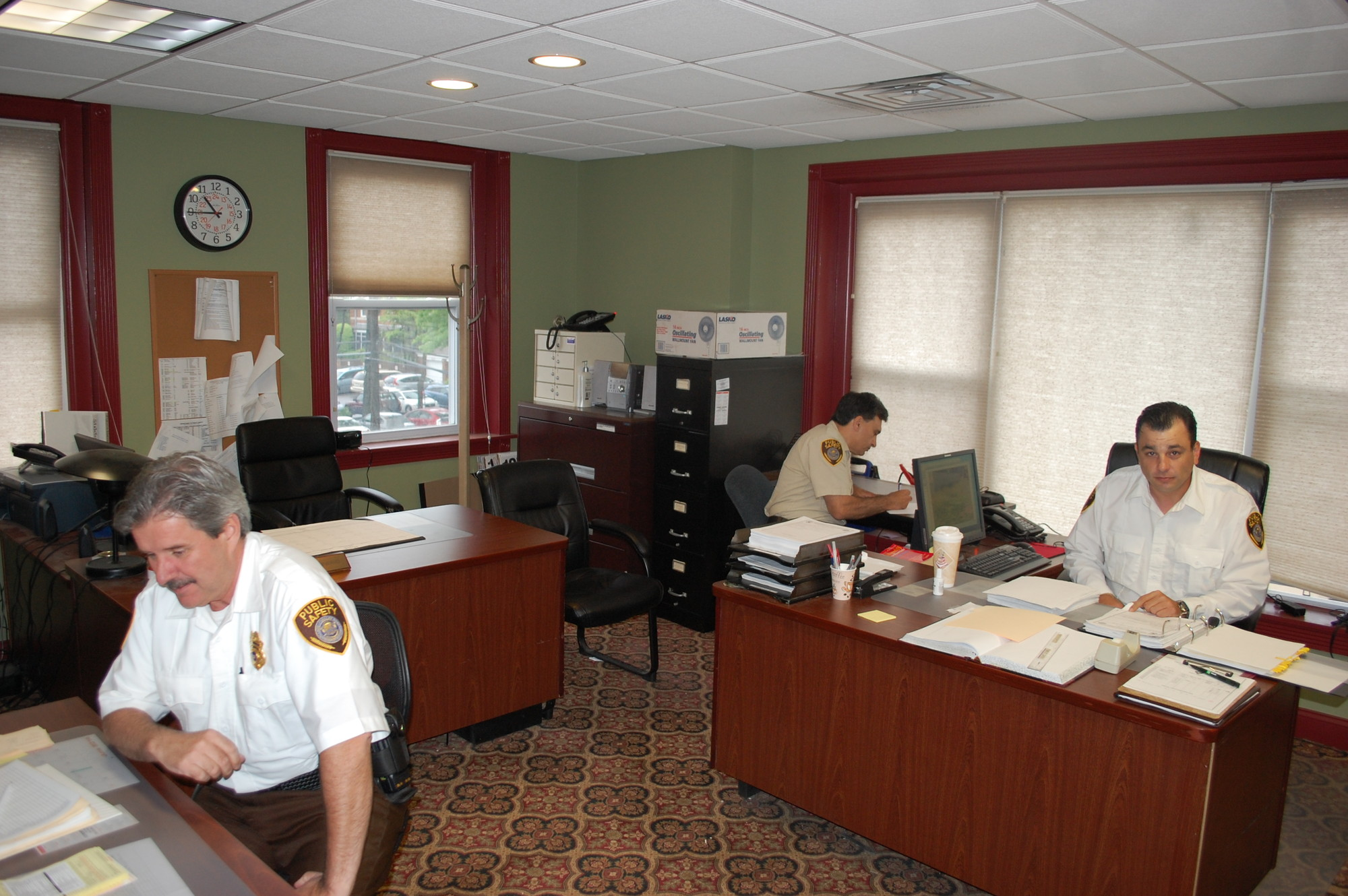 Public Safety officers in their new space at 195 Rockaway Ave.