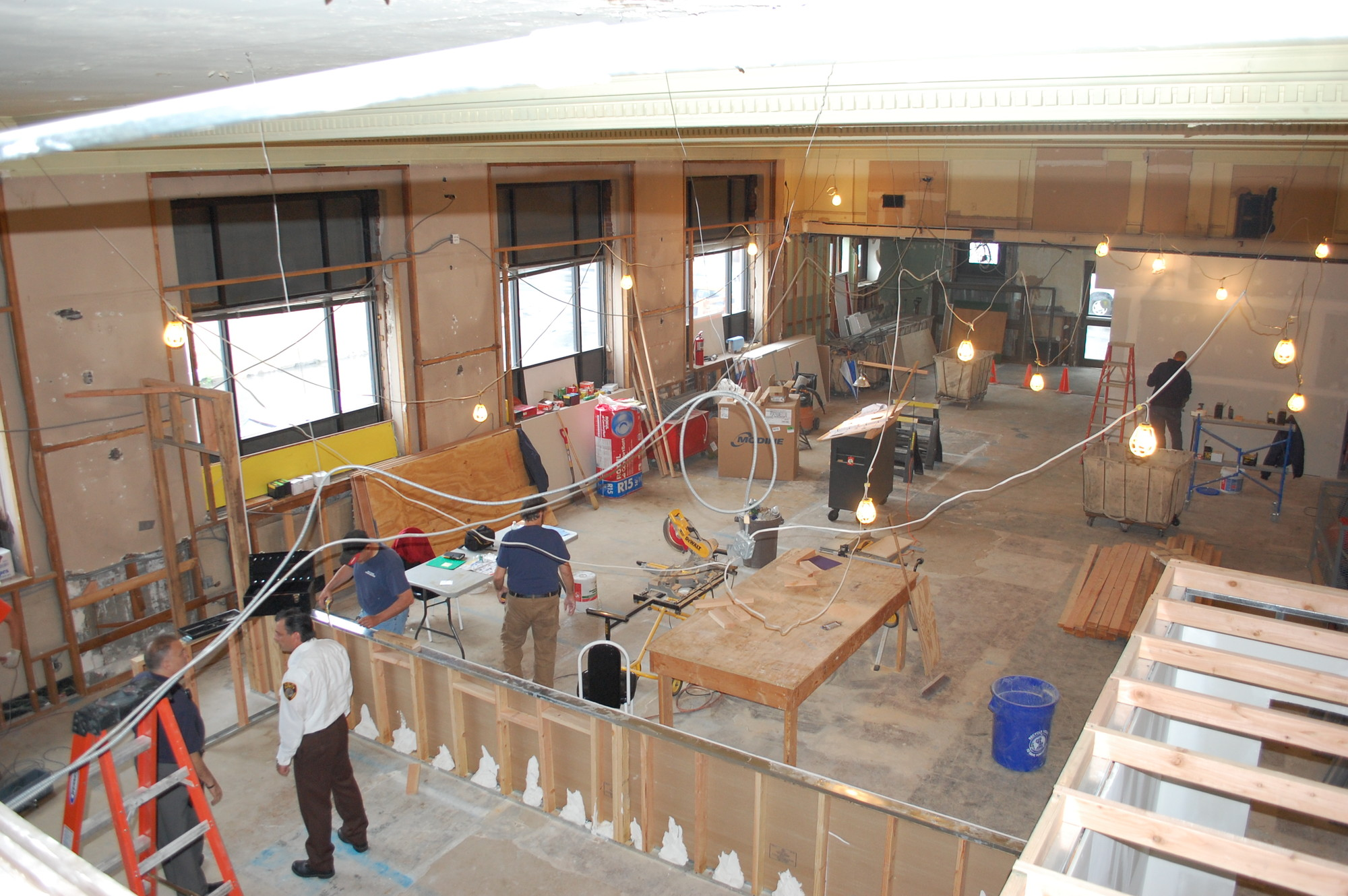 A view of the courthouse construction from the mezzanine level, where the judge's chambers and a conference room will be located.