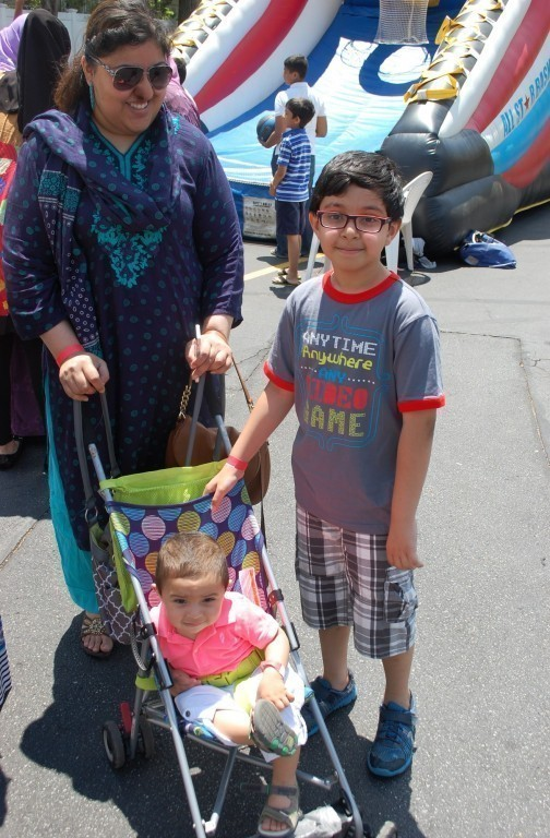 Zaheera Khan, with sons Jahanzaib, 8, and Zayn, 1, stopped by the fair.