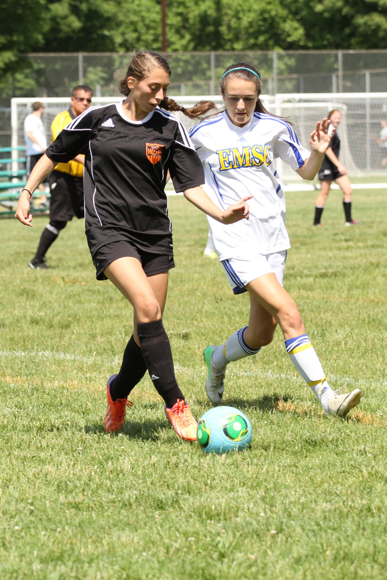 Michaelyn Benson, left, tried to stave off defender Alexis Rondinelli.