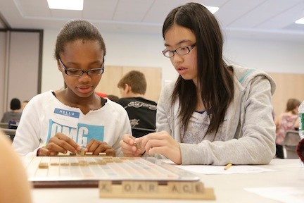 Lisa Jose and Jessica Zhang, sixth-graders at Fayette School, planned their next move.