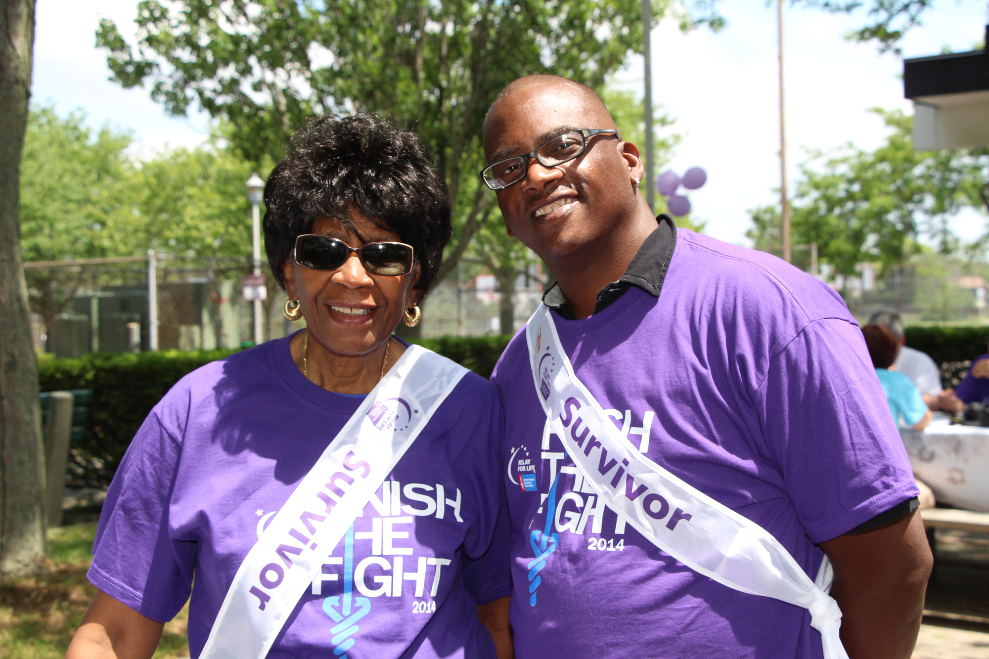 Barbara Sidney, a survivor for 40 years, posed with Floyd Wright, a survivor of 17 years at Baldwin's Relay For Life on June 14 at Baldwin Park.