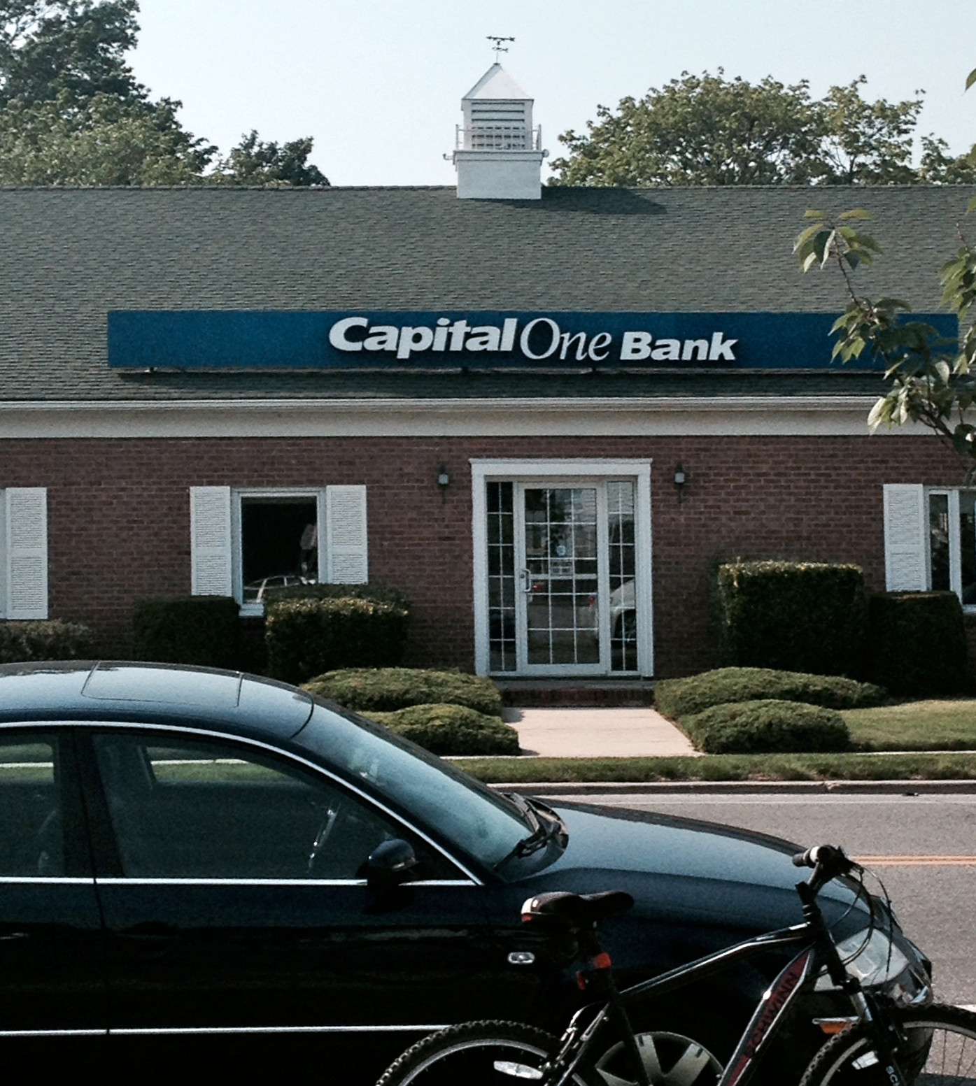 This Capital One branch was robbed Tuesday afternoon. The photo was taken shortly after the robbery.