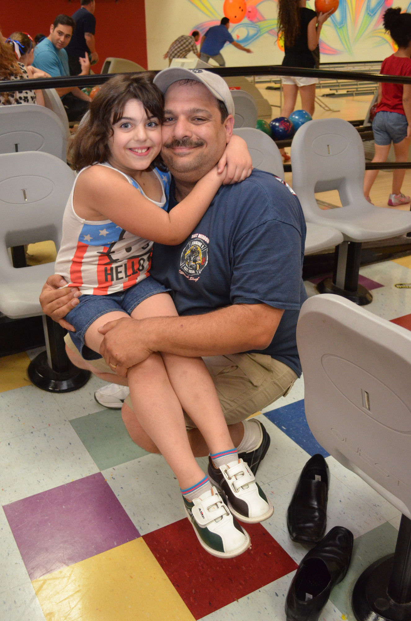 Jaclyn Sisca, 7, struck a pose with her dad, Marty.