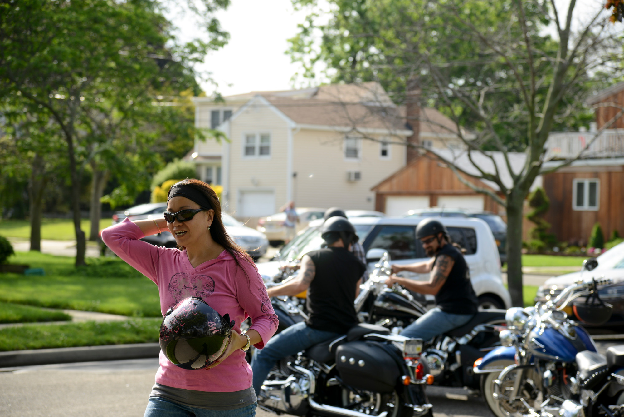 Margaret Yang looked ready to ride as a charity motorcycle run to benefit the Maurer Foundation was set to take off.
