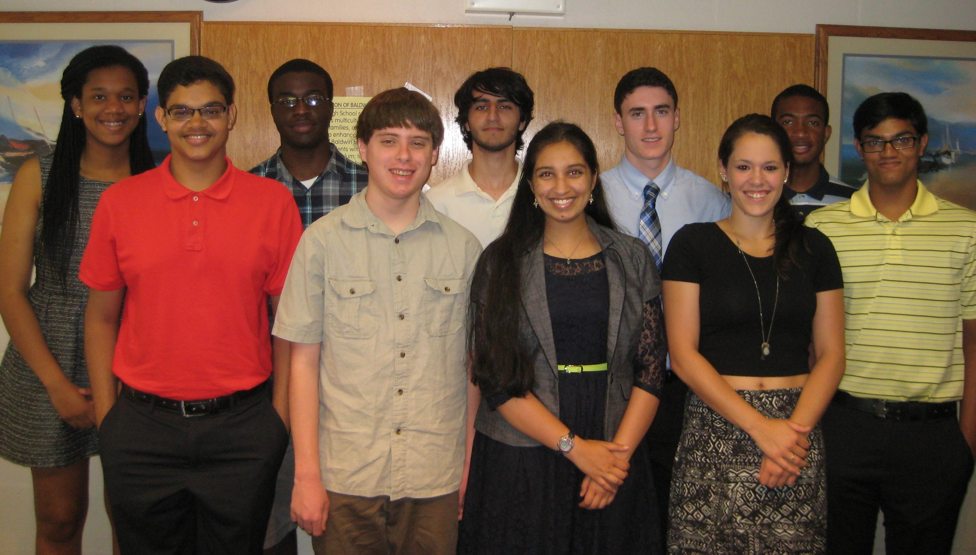 Baldwin High School's Top 10 academic seniors: front row from left are Vineet Vishwanath, Dylan Sammis, Harinee Nori, Michele Messina and Vkram Vishwanath. Back row from left are Valerie Achille, Richard Henry, Keyan Vakil, Bryan Saggese and Wesley Pennycooke.