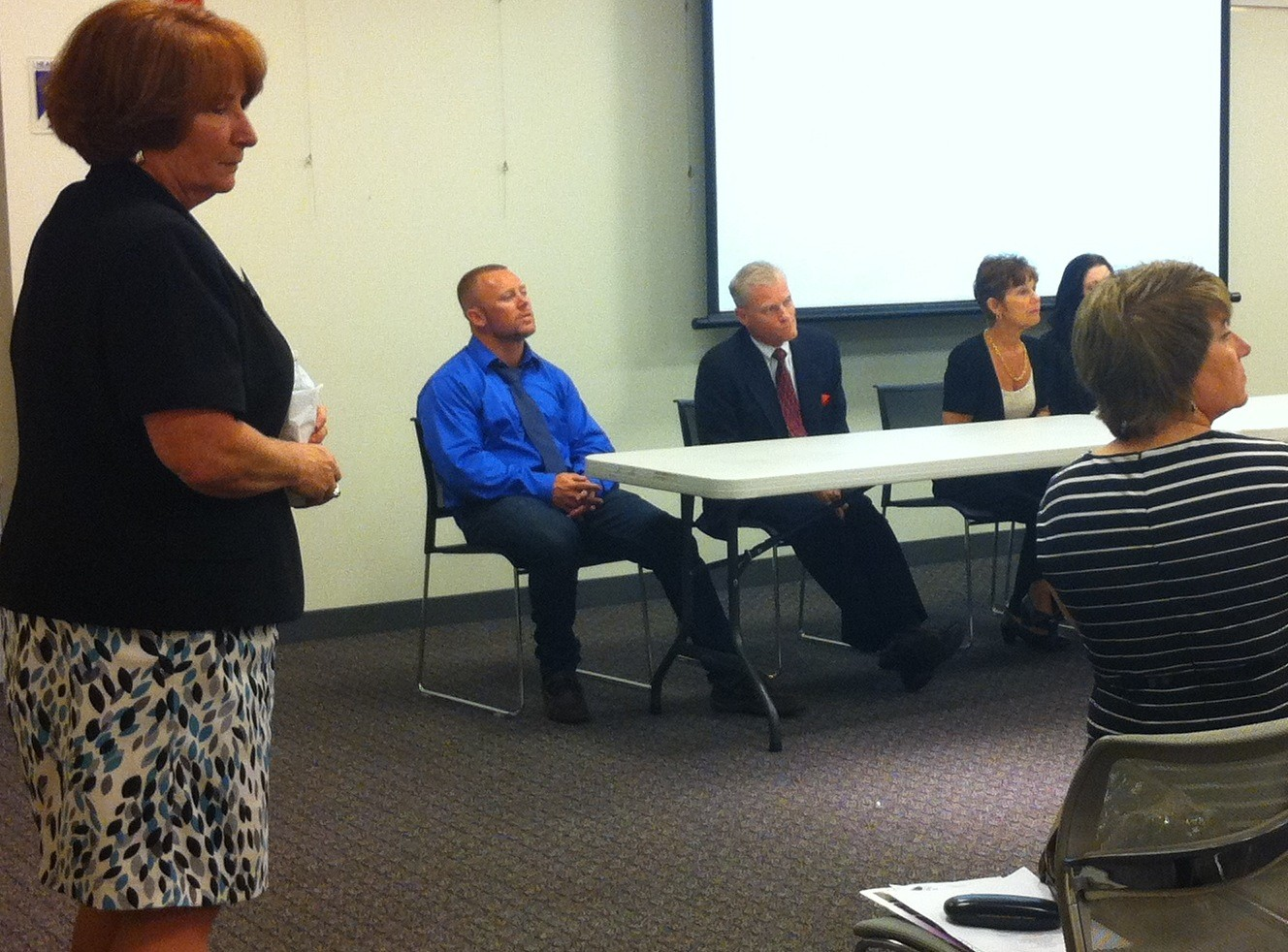 Addiction counselor Karen Palmiero spoke at a Phoenix House-hosted opiate seminar at the Merrick Library on June 18.