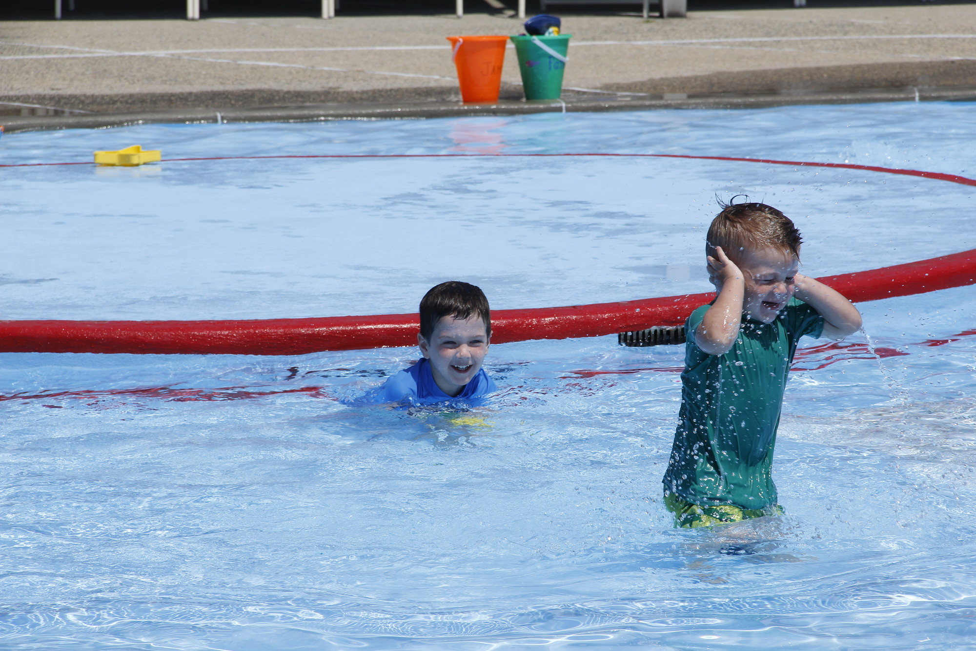 James Wisniewski, 5, and his brother Patrick, 3, had a great time splashing around in the pool at Veterans Memorial Park.