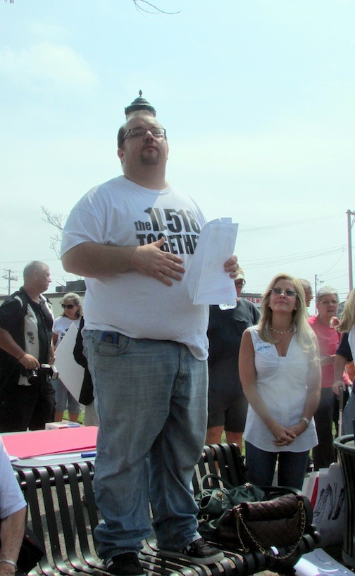 Dan Caracciolo addressed the crowd at last summer�s protest on Ocean Avenue in East Rockaway.