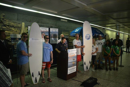 City Manager Jack Schnirman was joined by local surfers, lifeguards and LIRR officials at a press conference at Penn Station on June 18.
