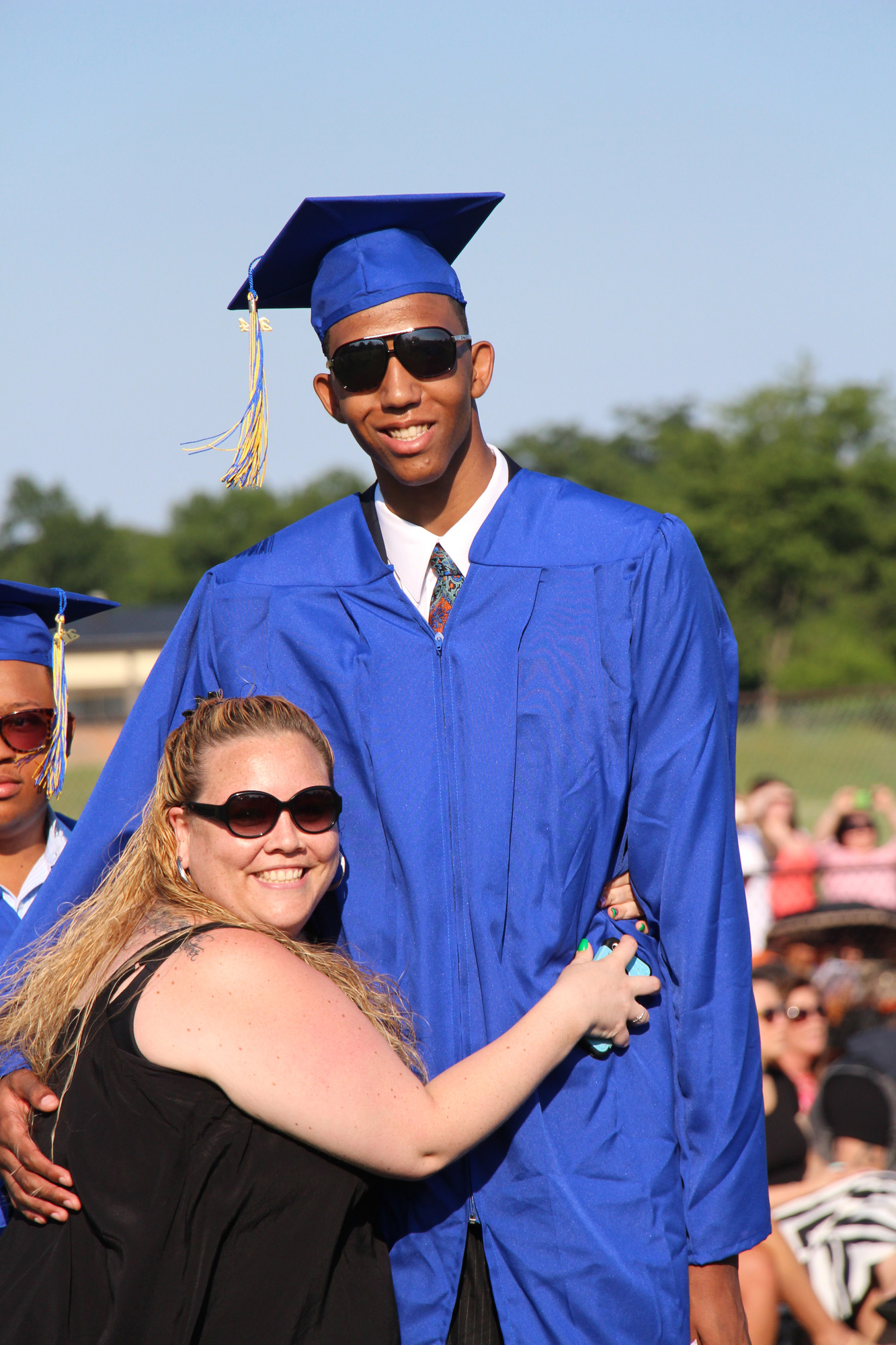 Leslie Brown, a librarian and secretary at BHS, congratulated her mentee, Gary Gornail.