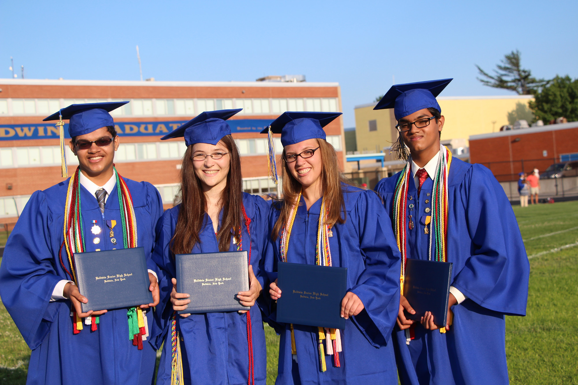 Baldwin High School�s class of 2014 graduated on June 27 in front of family and friends. From left were Vineet Vishwanath, Virigia Lee, Kirsten Watts and Vikram Vishwanath.