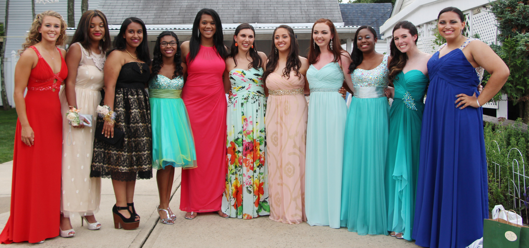The girls from Baldwin High School were ready to party at their prom at The Sands Atlantic Beach on June 26. From left were Marie Lucas, Megan Delatour, Meron Sabatu, Kiera Hyacinthe, Valerie Achille, Natalia Barr, Hannah Marrero, Raeltin Clavin, Ashley Johnson, Kirsten Bruck and Rachel Clark.