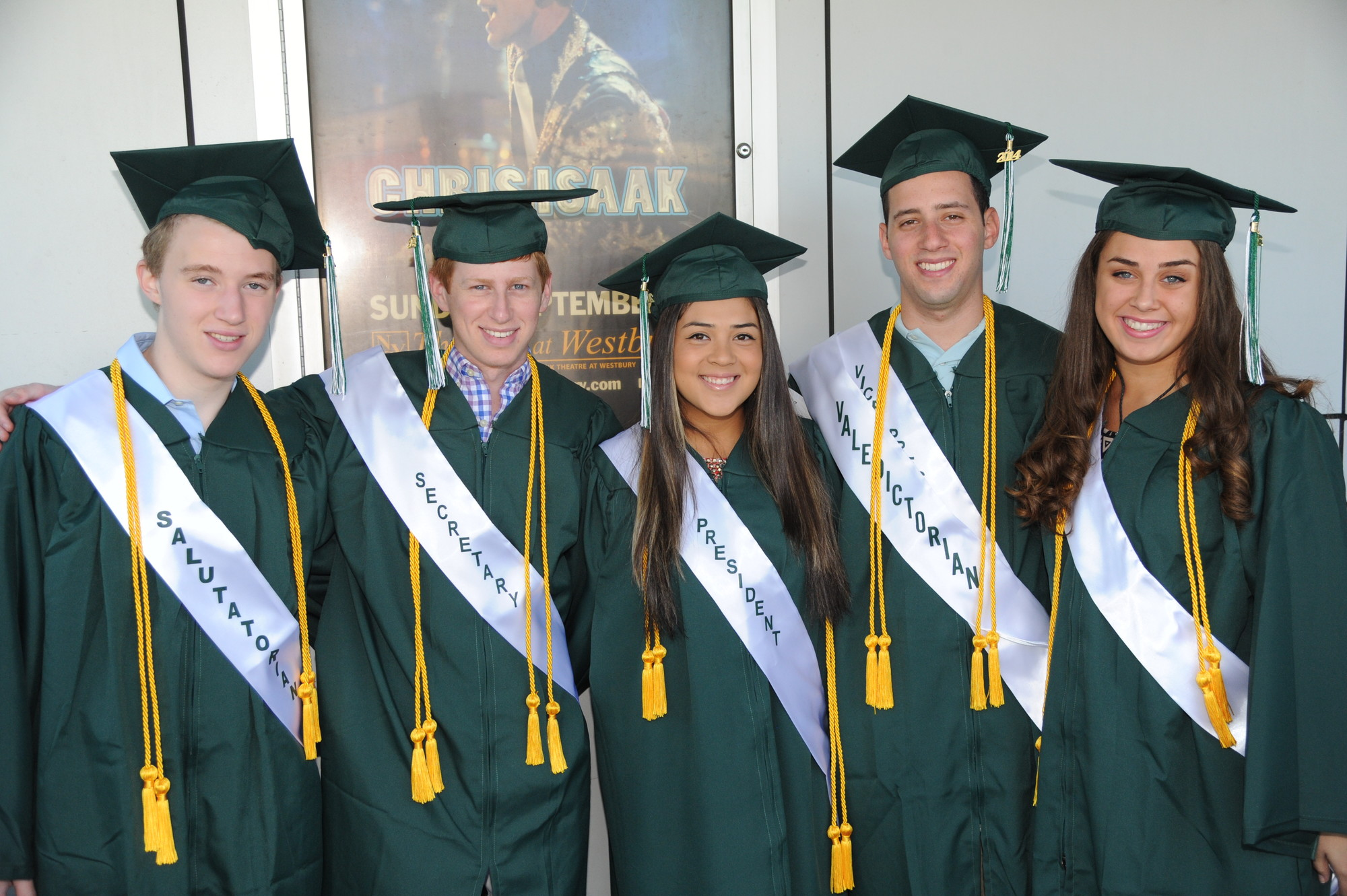 Gathering for a group shot were, from left, class of 2014 salutatorian Ben November, Secretary Ross Feldman, President Valentina Elegante, valedictorian and Vice President Benjamin Rabinowitz, and Treasurer Olivia Johansen.