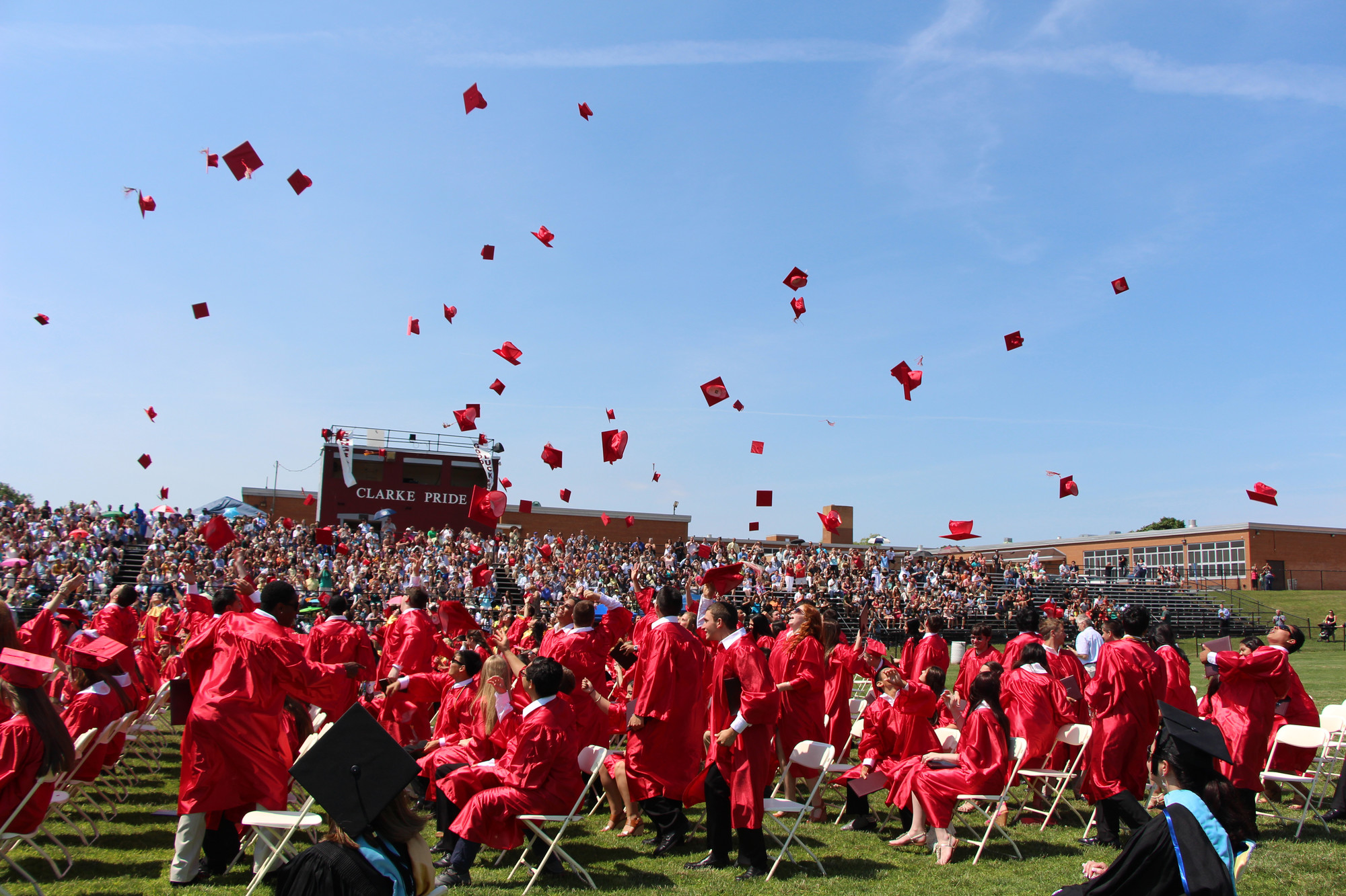 It was Hats Off at W.T. Clarke High School last Sunday as seniors sent their mortarboards flying.