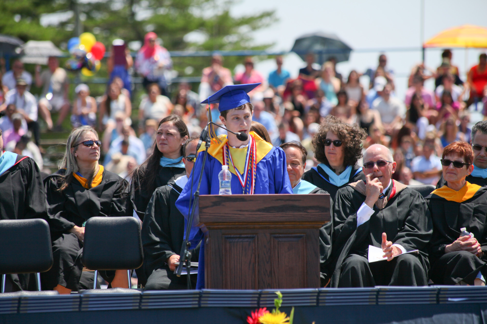 Valedictorian Nathan Siegelaub addressed students, parents and faculty at the ceremony.