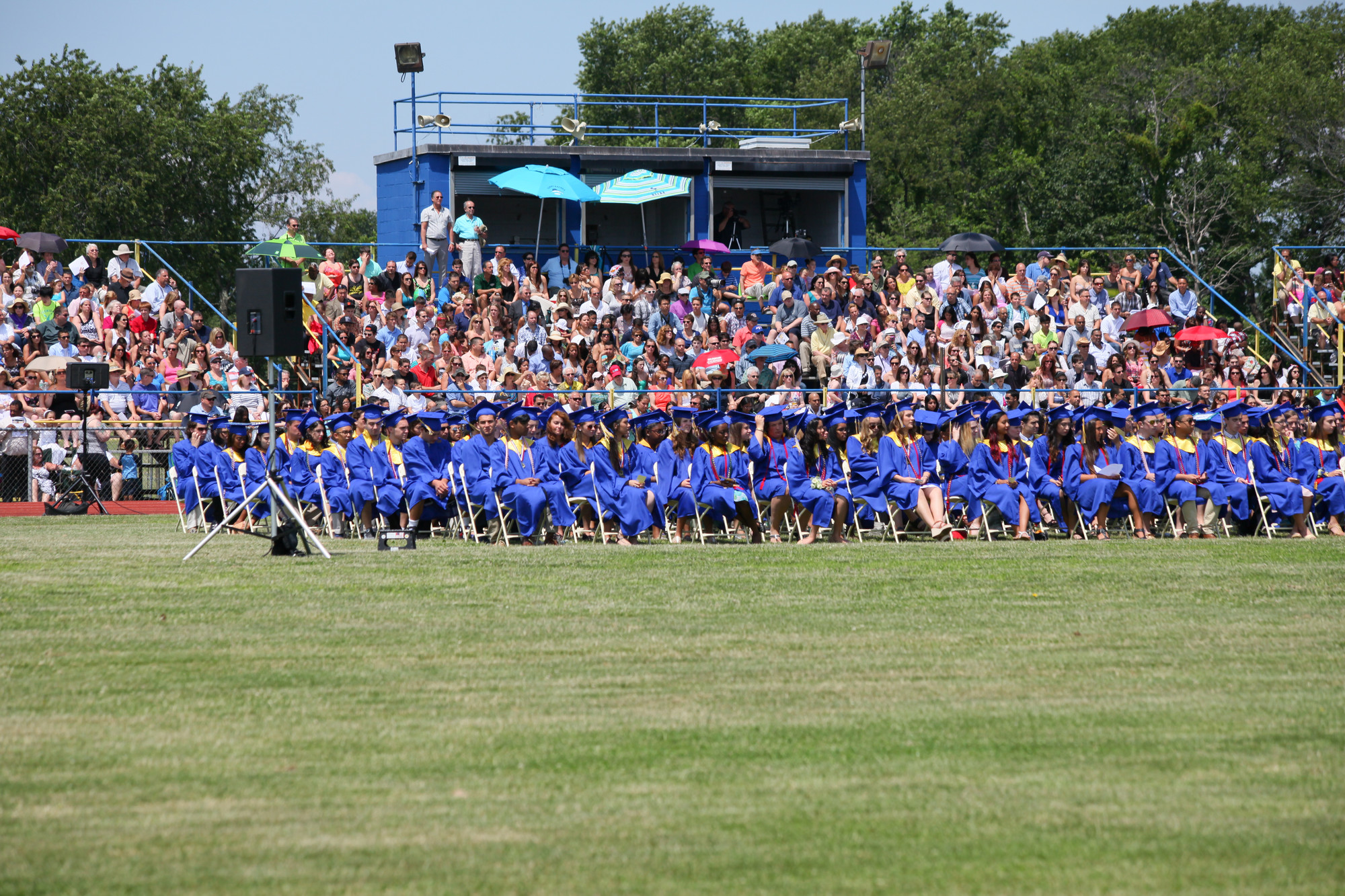 The East Meadow graduation took place on the John Barbour Memorial Field outside of the school.