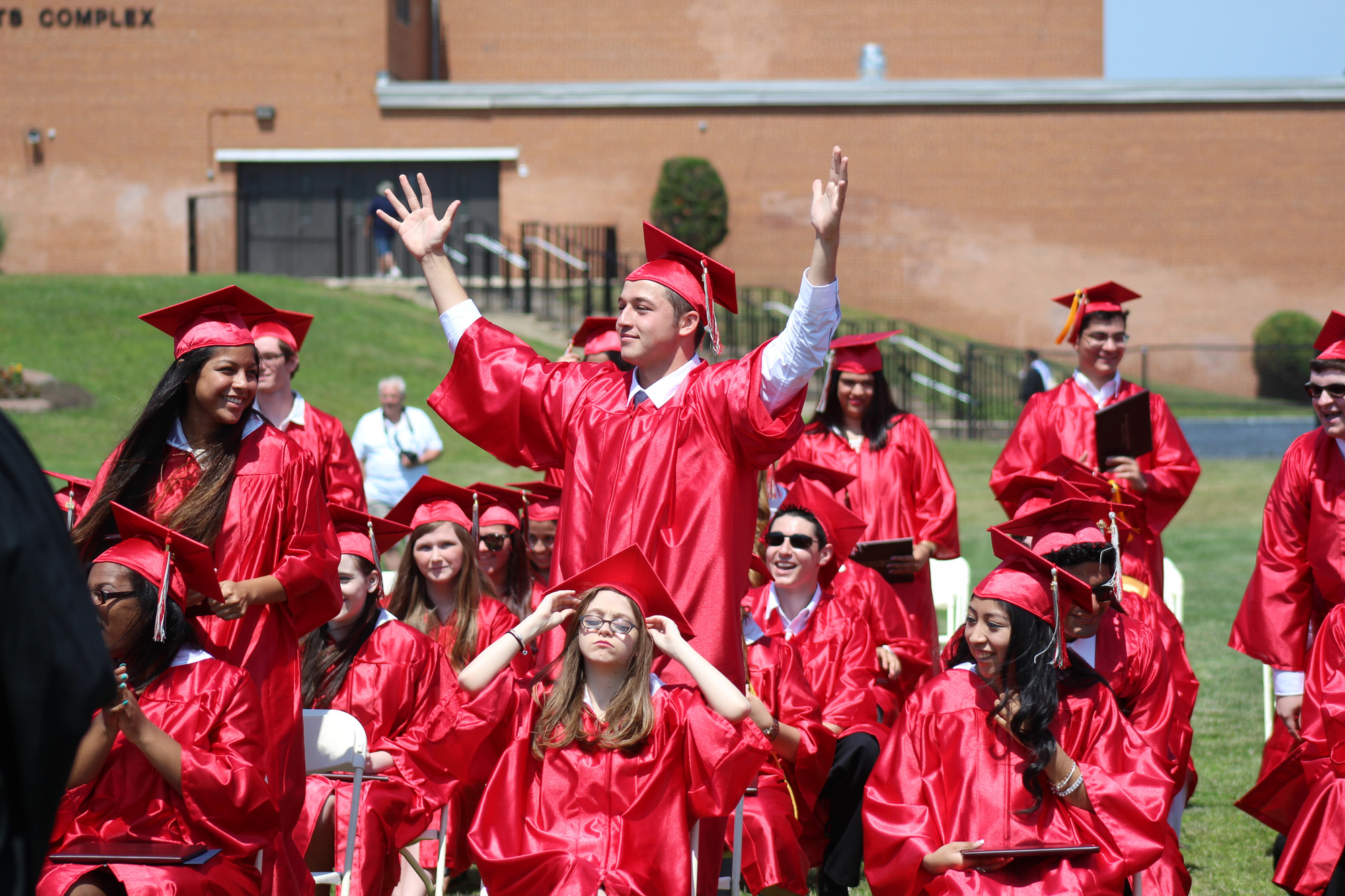 W.T. Clarke's Michael Gismondi showed his enthusiasm at the June 29 graduation ceremony.