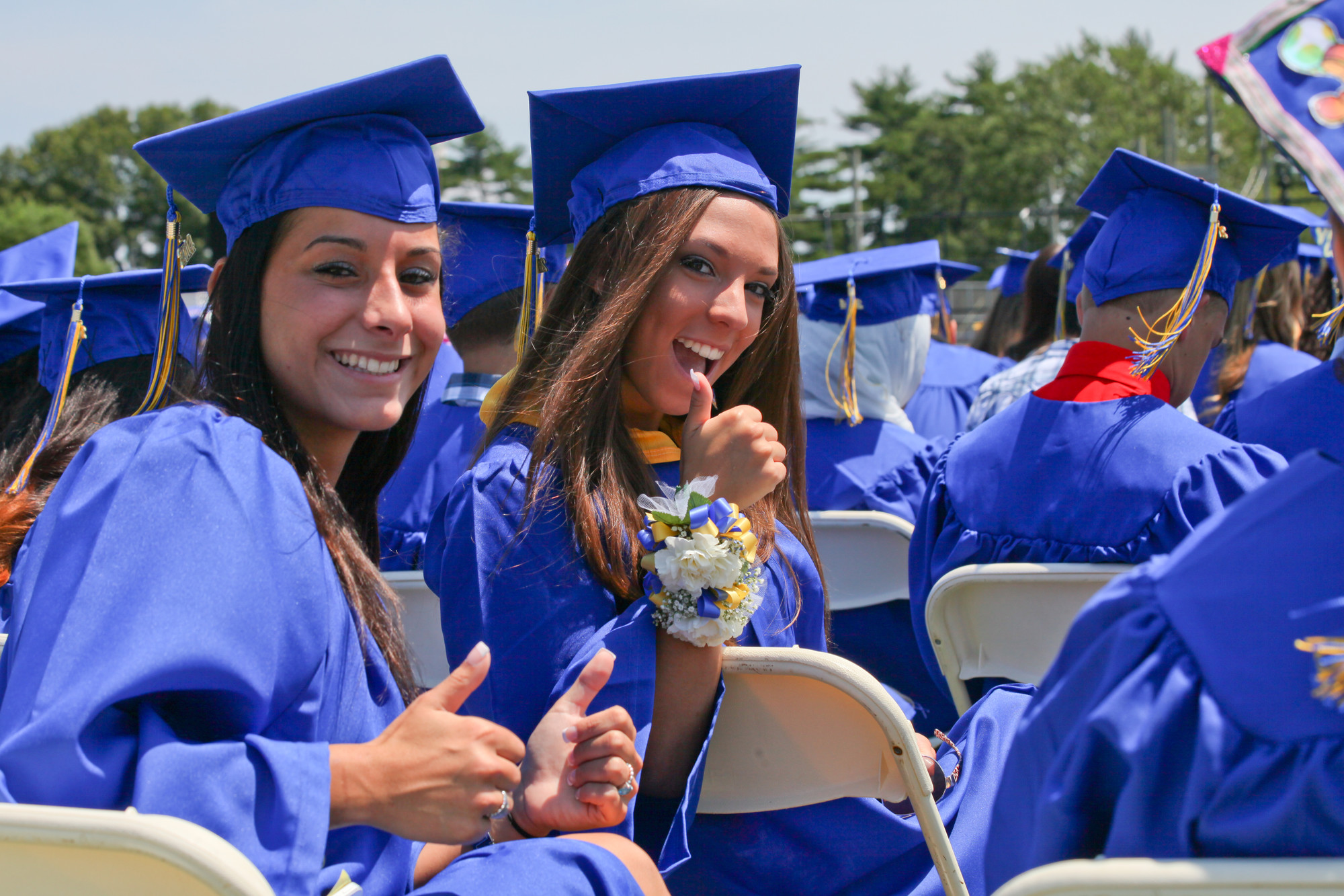 Amanda Soldano and Erin Masso were excited to graduate from East Meadow High School.