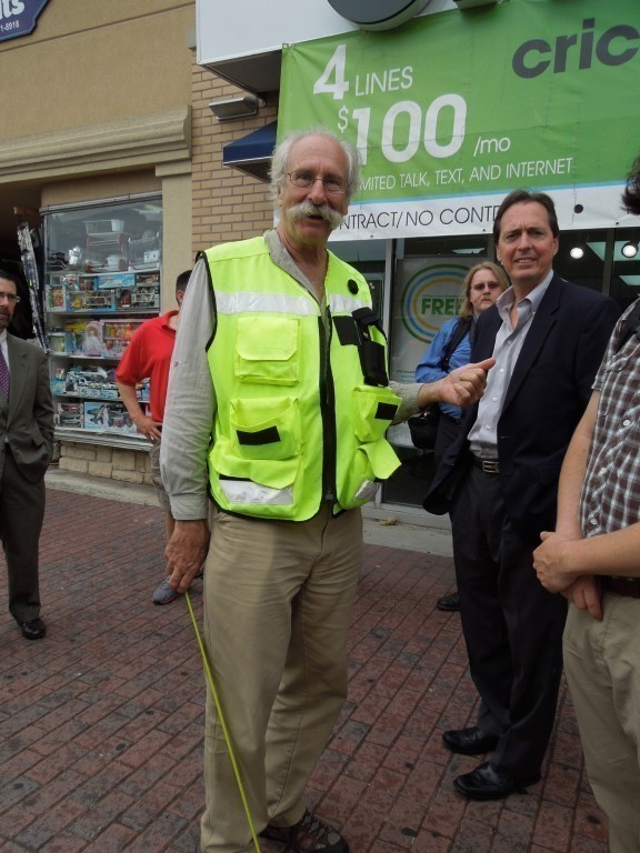 Dan Burden from Walkable and Livable Communities Institute strolled downtown Freeport last Thursday looking for ways to make the community more accessible to pedestrians.