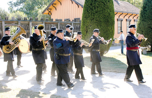 Hear Old Bethpage Village's brass band perform some patriotic tunes during the village's holiday celebration.