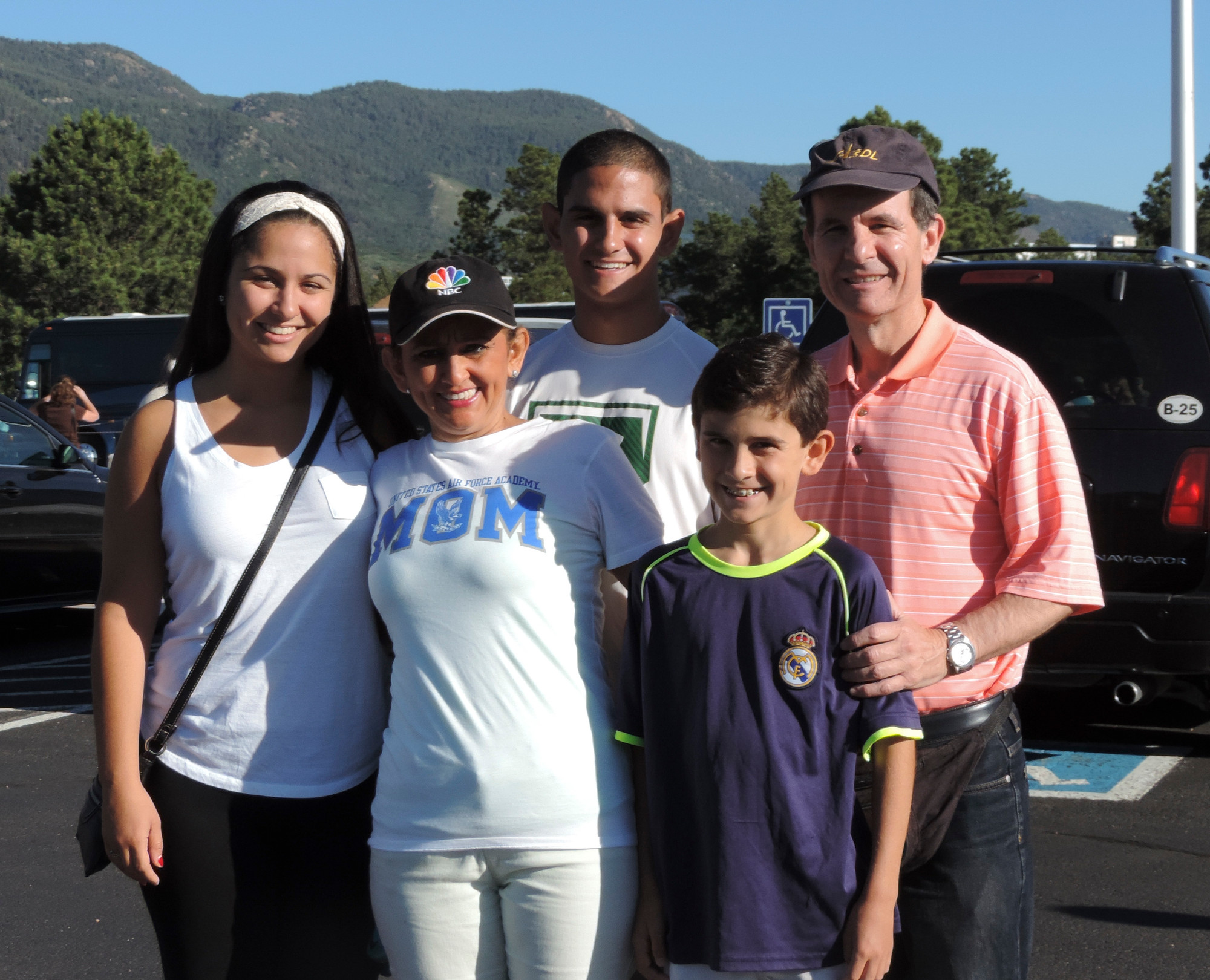 The Gershoff family at the Air Force Academy in Colorado Springs on the morning of June 26. From left were Ashley, 20, Carmen, Eric, Joshua, 12, and Walter.