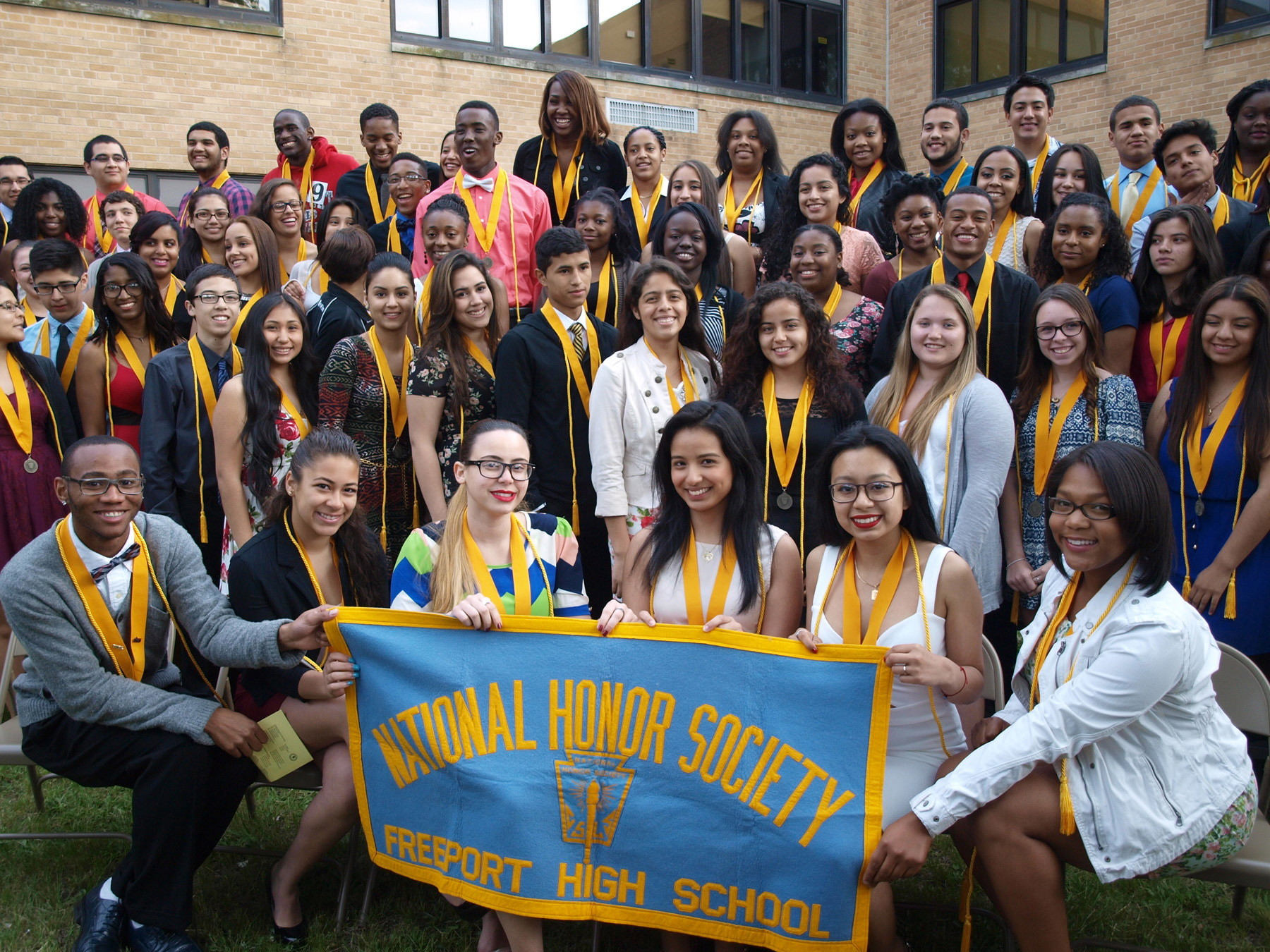 FHS National Honor Society: The graduating seniors in the Freeport High School National Honor Society posed for a group photo after the senior recognition/officer induction ceremony held in the courtyard at the high school.