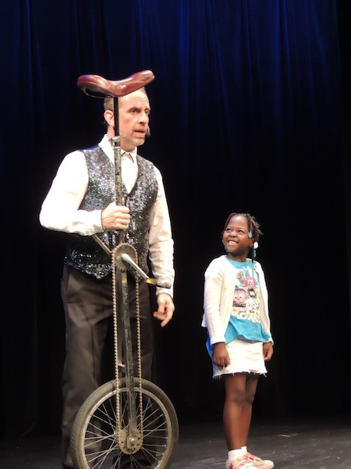 Performers with the National Circus Project visit Long Island Children's Museum on July 8.