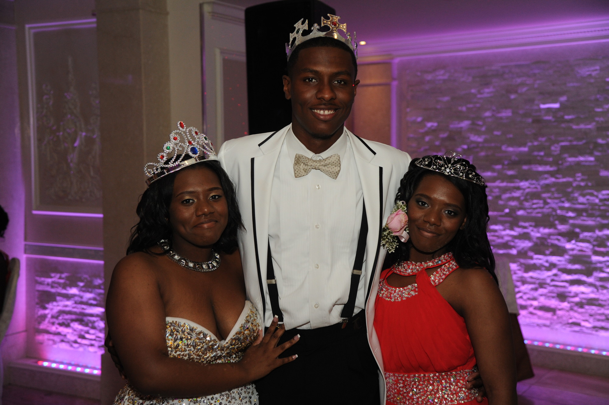 Prom Queens Kayla and Anethyst Hope, Prom King Mekhi Grindley.
