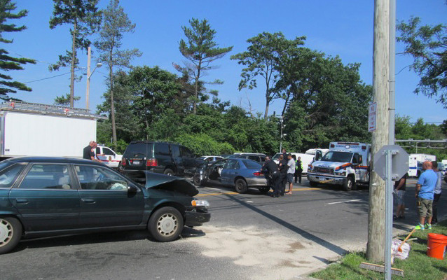 Several cars were involved in an accident on Merrick Avenue, near Hempstead Turnpike, around 10 a.m. on Monday morning. Photo courtesy of John Scalesi