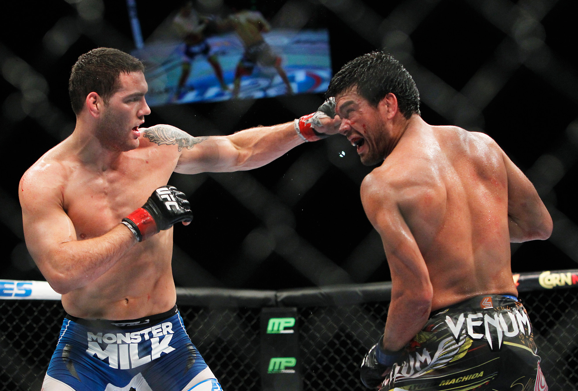 Chris Weidman, left, defeated Lyoto Machida at the Mandalay Bay Events Center in Las Vegas last Saturday to retain the UFC Middleweight title.