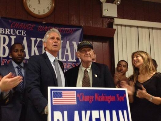 Blakeman declared victory in the Republican primary at his campaign's Election Night party. Standing beside him was his father, Robert Blakeman.