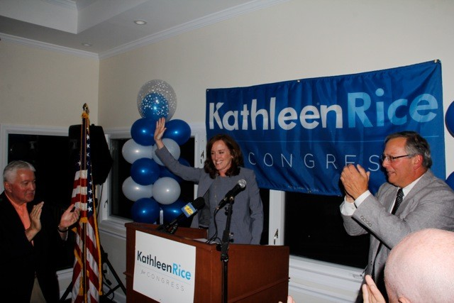 Rice declared victory in the Democratic primary at her campaign's Election Night party.