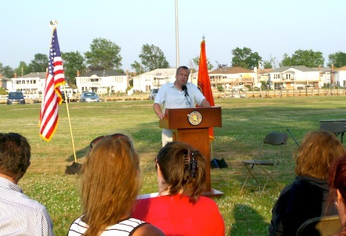 Nassau County's deputy Executive Rob Walker announced the closing of Bay Park and upcoming construction and upgrades at the sewage plant at a press conference on Monday evening in the park.