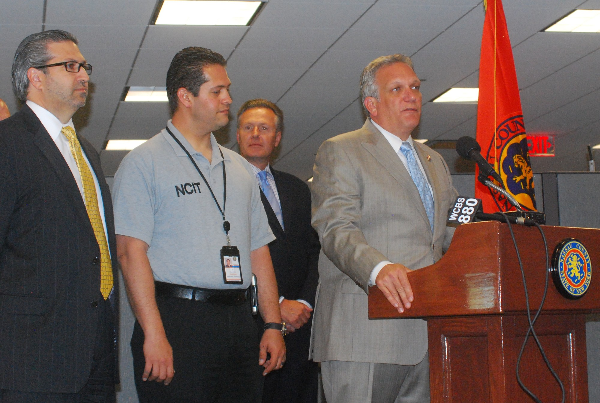 Nassau County Executive Ed Mangano came to Morrelly Center for Homeland Security in Bethpage to announce contingency plans in the event of a Long Island Rail Road strike on July  20. The county plans to offer free Wi-Fi access to roughly 200 commuters, among other measures.