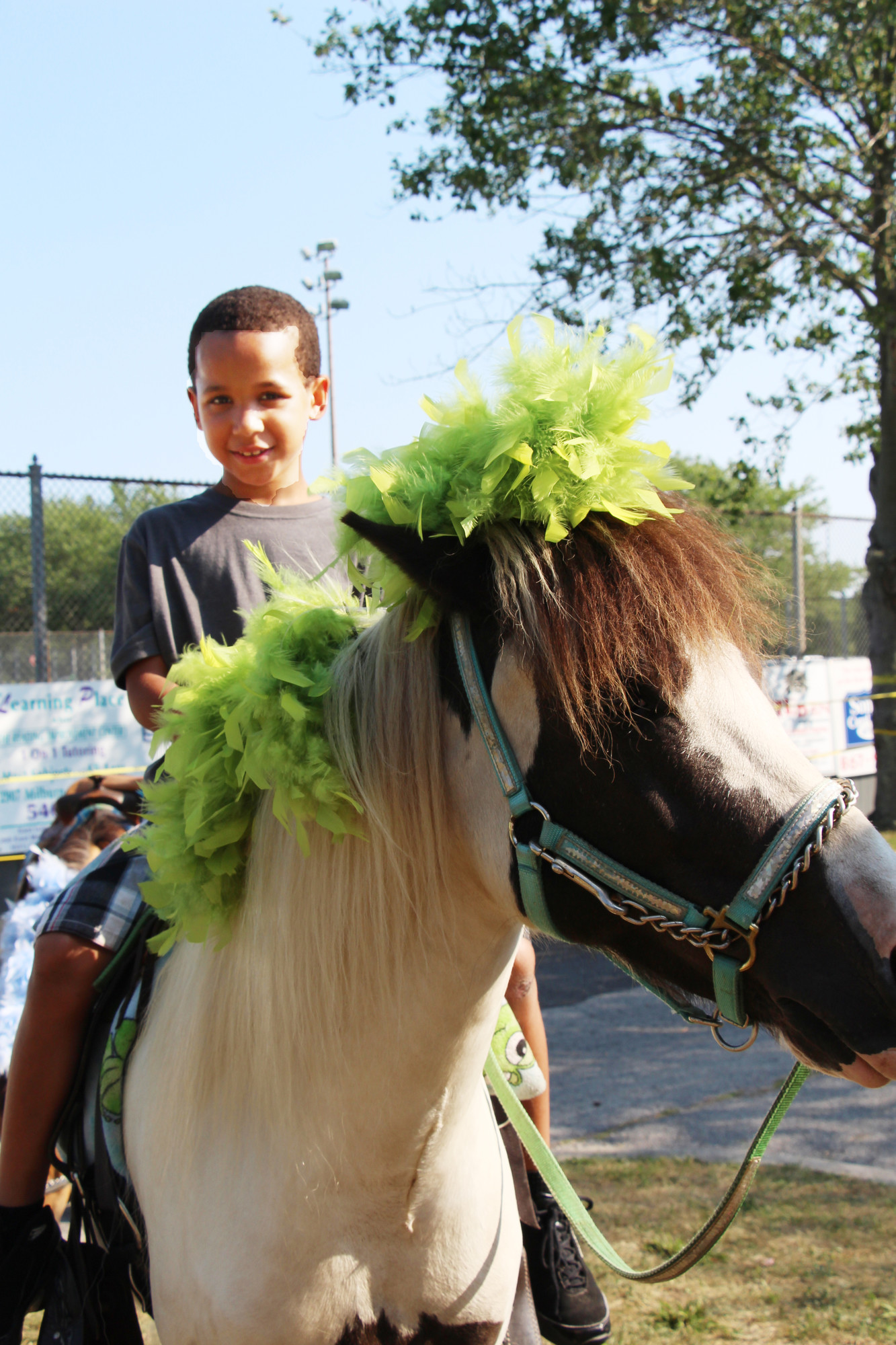 Kyree Pruce, 7, took a ride on a  pony around the park.