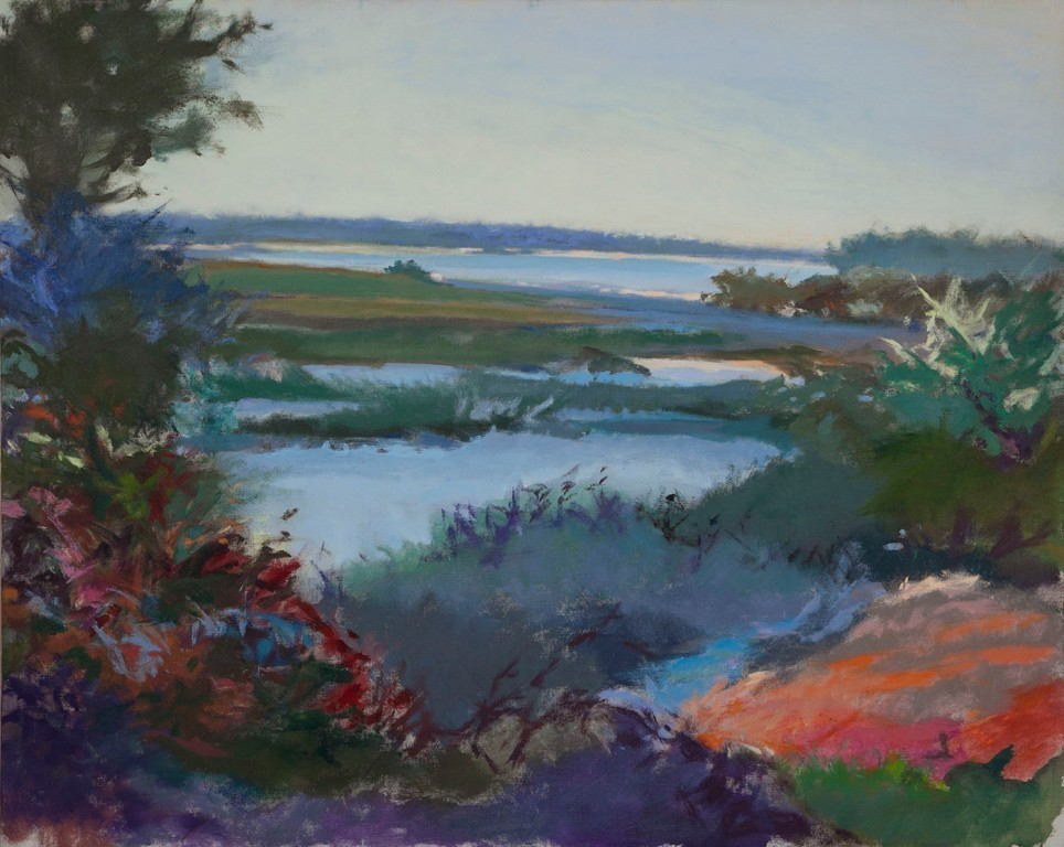 Don Resnick's Marshes, an oil on linen, is among the works on view in Hofstra's solo exhibit that reflects the artist's lifelong passion for nature.