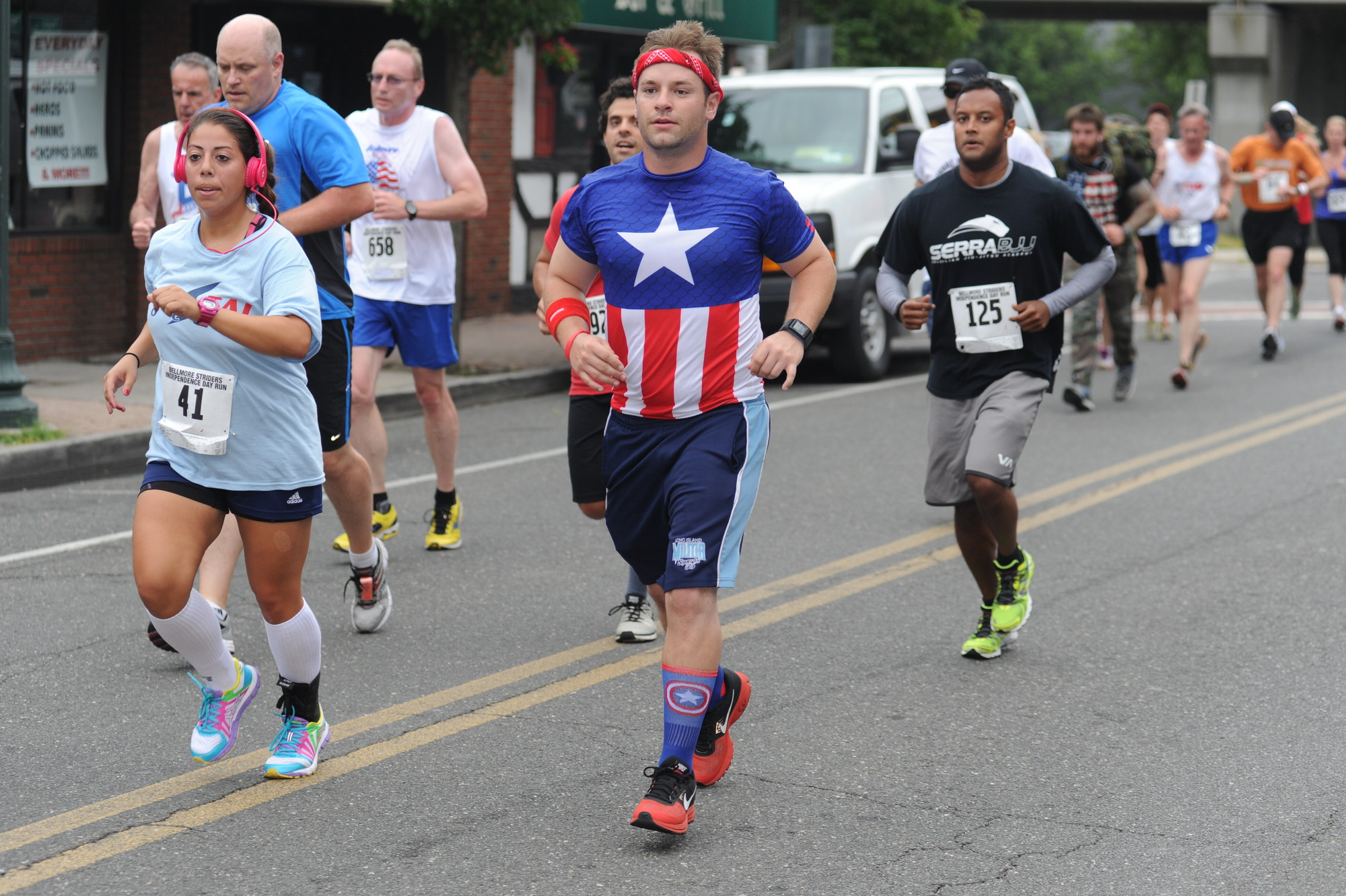 Thomas McGuire dressed as Captain America in honor of Independence Day.