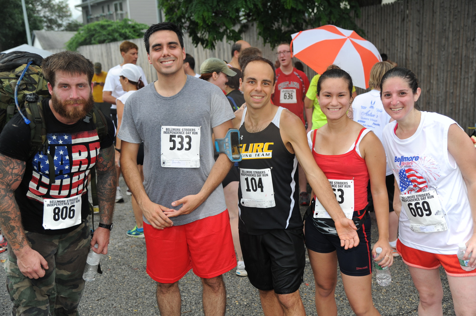 Billy Richards, a former Marine, Alex Carrion, David Drebsky, Alexa Morales and Jackie Irving were all smiles after the race.