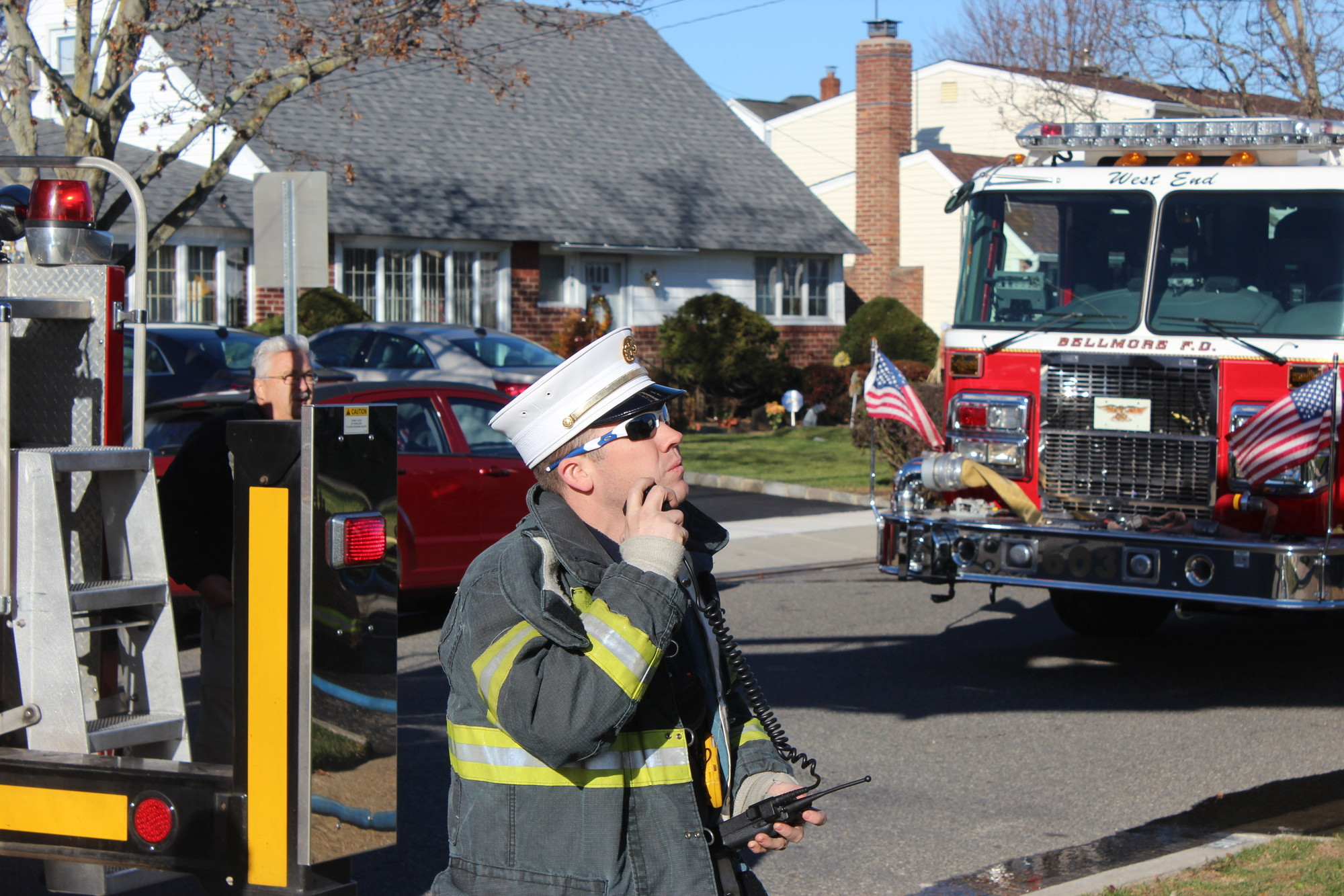 Christopher O�Brien, who served as Bellmore�s chief last year, directed operations while firefighters extinguished a blaze on Belmill Road in November 2013.