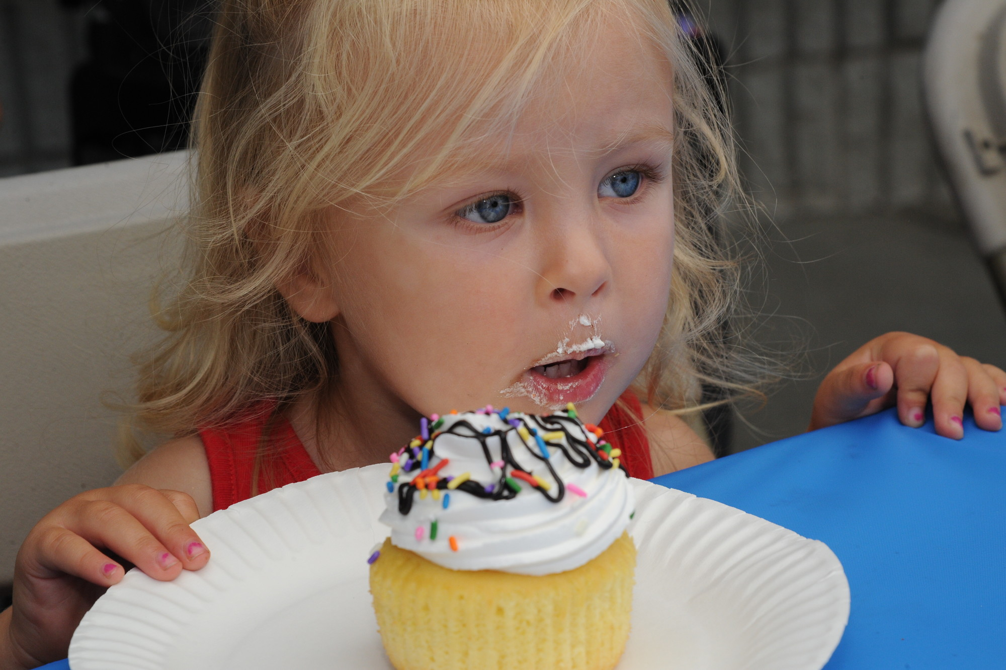 Molly Stevens, 2, wasn't ready to finish her cupcake, even though the contest was over.