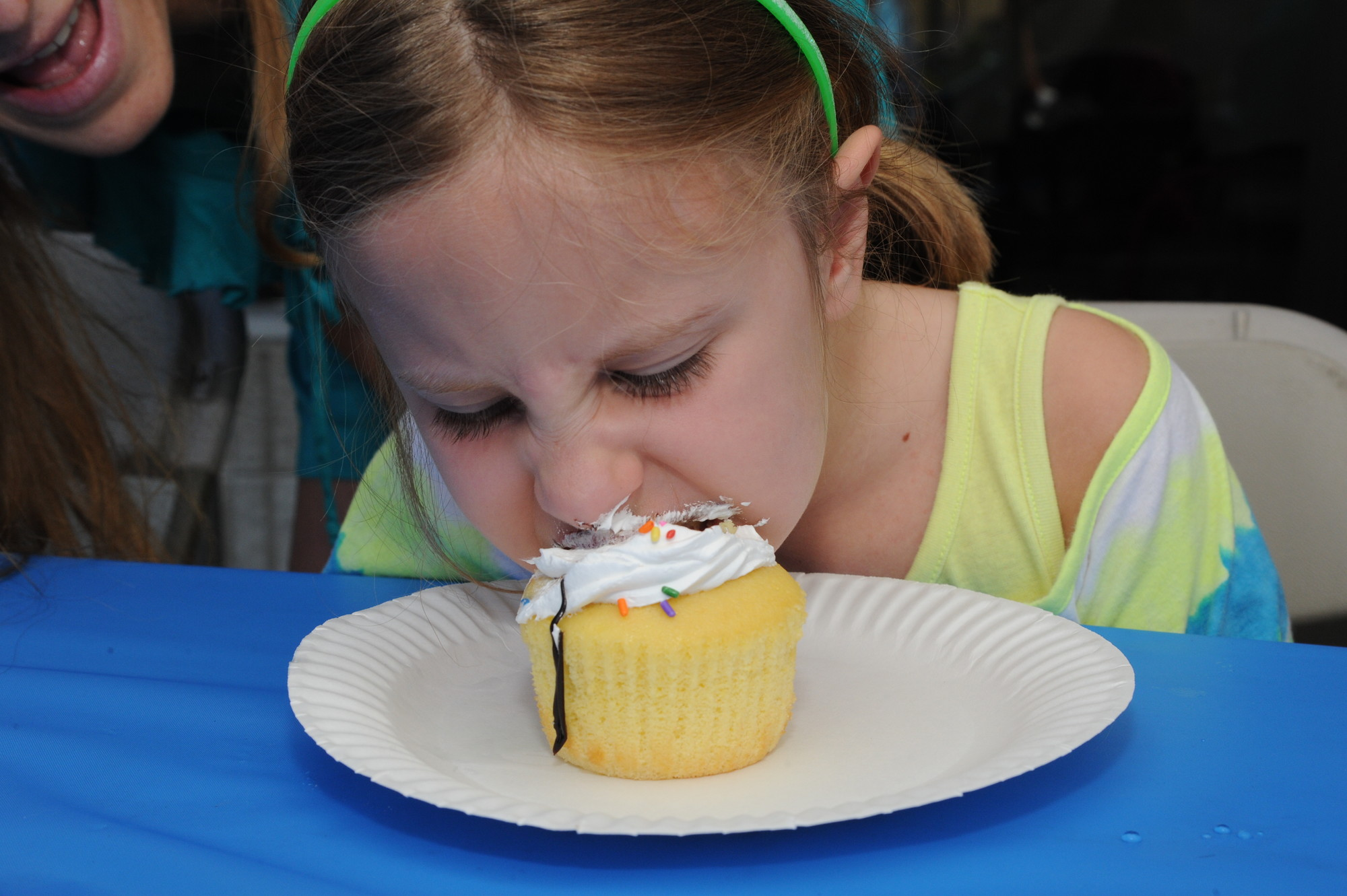 Emma Stevens, 5, dug into a tasty confection.