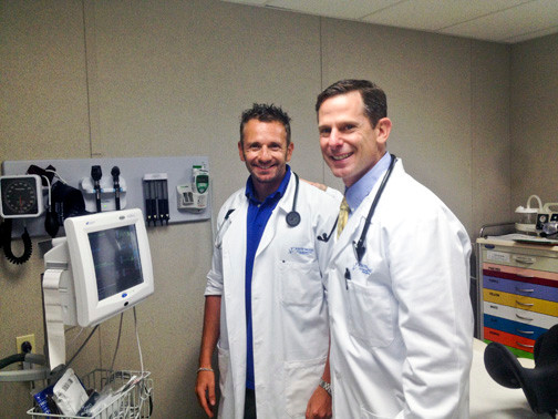 Dr. Hillel trope, left, and Dr. Joshua Kugler in one of the center's exam rooms.