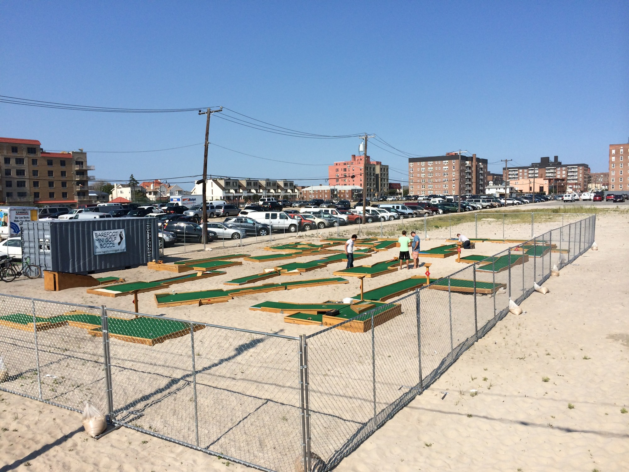Barefoot Mini Golf, an 18-hole course located at Riverside Boulevard and the boardwalk — pictured under preparations — opened on Thursday.